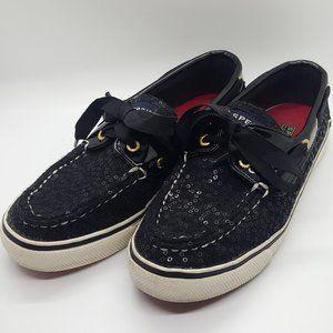 Sperry Wool Top-Sider Black Sequin Sneakers